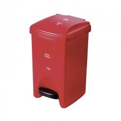 Basurero Pedal Delgado 12Lt Rojo- Riesgo Biologico