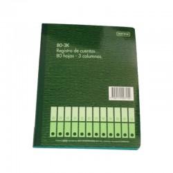 Cuaderno Contable 1/2 Oficio 3 Columnas
