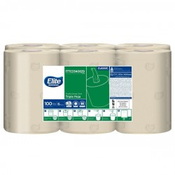 Toalla de manos Elite Center Flow Triple Hoja Natural x 6 Rollos 100 Mts